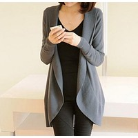 Women's Long Sleeved Casual Knitted Sweater Cardigan