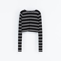 STRIPED CROPPED T - SHIRT - Woman - New this week   ZARA France