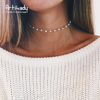 Artilady opal stone beads chokers necklaces for women jewelry gold plated chain necklace  party gift