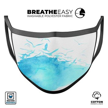 Abstract Blue Watercolor Seagull Swarm - Made in USA Mouth Cover Unisex Anti-Dust Cotton Blend Reusable & Washable Face Mask with Adjustable Sizing for Adult or Child