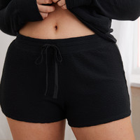 Aerie Textured Short, True Black