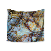 "KESS Original ""Opalized Marble"" Blue Brown Wall Tapestry"