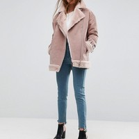 ASOS Suede Aviator with Faux Shearling at asos.com