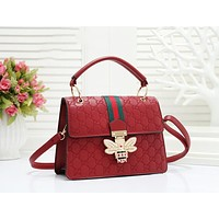 GUCCI New fashion pearl diamond bee more letter leather shoulder bag women Red