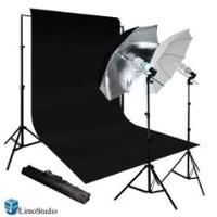 Limostudio New Photo Photography Video Studio Umbrella Continuous Lighting Light Kit Set- Lighting Stand, 10' X 10' Black Muslin, Carrying Case, AGG716