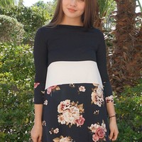 Watch The Sunset Black And White Floral Print Stripe Swing Dress