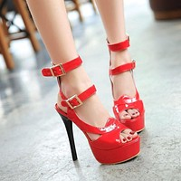 Peep Toe Ankle Wrap Buckle Women Pumps Platform Sandals Stiletto Heel 9203