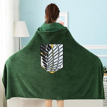 Attack on Titan Wearable Throw Blanket with Hooded for Children and Adults