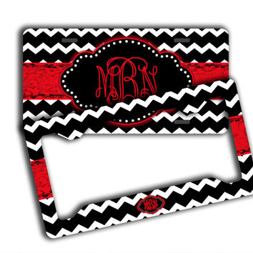CHEVRON WITH DISTRESSED GRUNGY RIBBON  - MONOGRAMMED LICENSE PLATE
