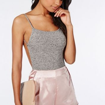 Missguided - Backless Bodysuit Grey Marl