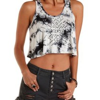 Black Combo Rhinestone Tie-Dye Swing Crop Top by Charlotte Russe