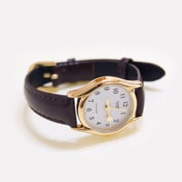 Women's Casio Gold Heart Watch ~ with brown leather strap