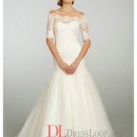 Alencon Lace Elongated Bodice With Three Quarter Sleeve Tulle Bridal Ball Gown JH8313