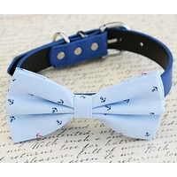 Nautical blue dog Bow tie Wedding collar, Beach wedding, Anchor , Wedding dog collar