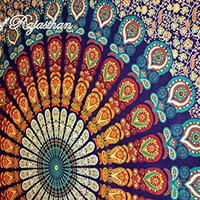 Trendyystrff Blue Color Theme Queen Size Mandala Wall Tapestries, Psychedelic Indian Tapestry Bedding, Bohemian Wall Hanging, Floral Print Bed Cover