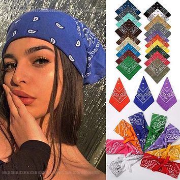 Vintage Bohemia Print Bandana Hair Bands for Girls  Women Headband Scarf  Face Mask Cross Turban Bandanas Headwear 55cmX55cm