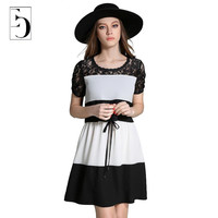 Women Plus Size Dress Summer Fashion Lace Embroidery Hollow Out Patchwork Fake Two Piece Dress European Mini New Dresses 5XL