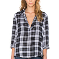 Stateside Double Face Plaid Button Up in White