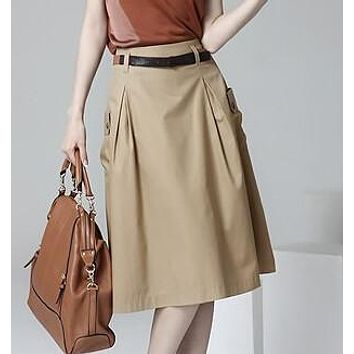 Fashion Style 2016 New Summer Casual A-line Pockets Skirt Khaki and Black Solid Midi Princess Button Women Skirts