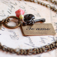"""Spanish """"Te Amo"""" """"I Love You"""" Postcard Necklace with Flower, Lock and Key Charms"""