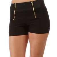 Black Double Exposed Front Zipper Shorts
