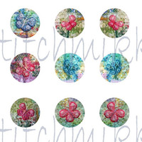 1 inch circles - Beaded butterflies - patchwork images - Digital collage sheet -  instant download - letter size