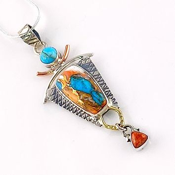 Spiny Oyster Turquoise & Coral  Sterling Silver Three Tone Pendant