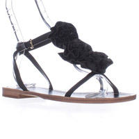 Kate Spade New York Caryl Rose Flower T-Strap Flat Sandals - Black