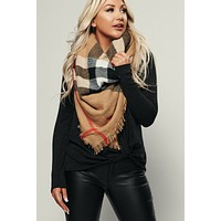 Perception Plaid Blanket Scarf (Khaki)