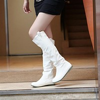 Buckle Flats Knee High Boots Women Shoes 5562