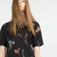 Black Floral Print Short Sleeve Blouse