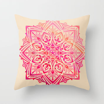 MANDALA II Throw Pillow by BIRDIHAUS