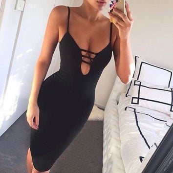 Solid Color Fashion Tight Dress