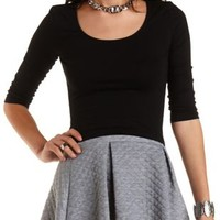 Three-Quarter Sleeve Crop Top by Charlotte Russe