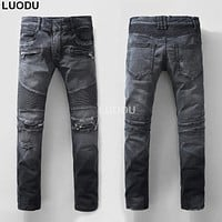 New France Style #941# Men's Distressed Ripped Knee Destroyed Stretch Moto Pants Black Biker Jeans Slim Trousers Size 28-42