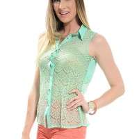 LightGreen Classic Lace Sleeveless Top | $10 | Cheap Trendy Blouses Chic Discount Fashion for Women