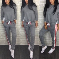 Trendy red/gray Tracksuit