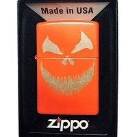 Zippo Custom Lighter - Scary Halloween Jack O Lantern Evil Smile Pumpkin Face - Regular Neon Orange
