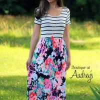 Black Stripe and Neon Floral Print Maxi Dress with Short Sleeves and Scoop Neckline - Boutique At Audrey's