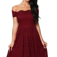 Scalloped Off Shoulder Flare Plus Size Burgundy Lace Dress