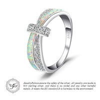 STYLEDOME Opal Crossover Band Ring 925 Sterling Silver