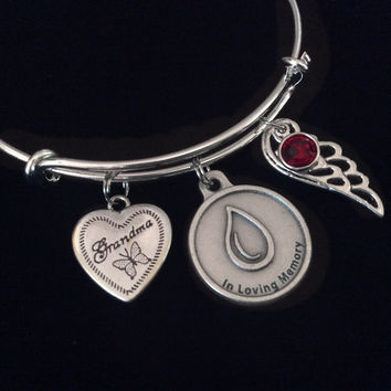 In Loving Memory Silver Expandable Charm Bracelet Adjustable Wire Bangle Memorial Gift