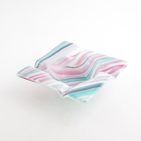 Cool Ashtray, Fused Glass Ash Tray, Pink and Teal, Smoking Accessories, Square Design, Cigarette Tray, Gifts for Smokers, Cigar Decor