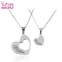 Fashion Heart Necklaces Jewelry Stainless Steel Mother and Daughter Splicing Double Heart Pendant Chain Necklace Women Bijoux