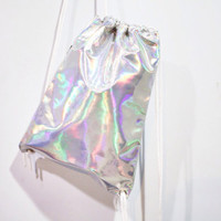 Holographic Drawstring Bag - Vegan Leather
