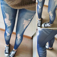 Women Ripped Denim Jean Look Skinny Leggings Slim Jeggings Trousers Blue Black = 1929840068