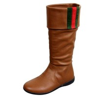DCCKUG3 Gucci Unisex Kids Signature Web Detail Brown Leather Boots 285230 (12 US)