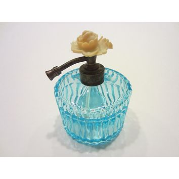 Blue Glass Atomizer Perfume Bottle Flower Top I W Rice Co Japan