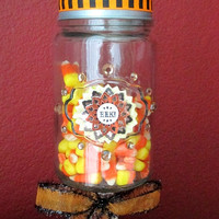 Halloween Apothecary Candy Jar ~ Glass Candy Jar on Glass Candle Holder base with Pumpkin on Lid and Crystal Embellishments