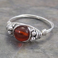 Baltic Amber Bali Sterling Silver Wire Wrapped Ring ANY size